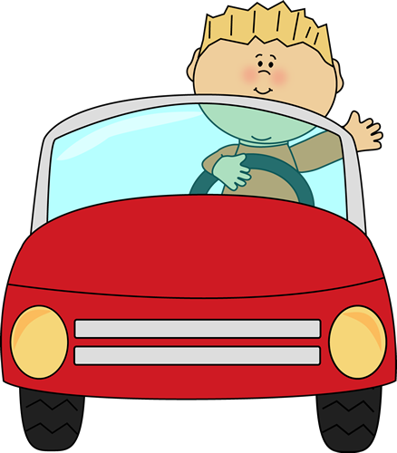 438x500 Boy Driving Car Cartoon Clip