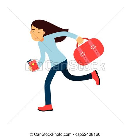 450x470 Cartoon Girl Character Running Fast To Airport With Luggage