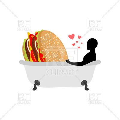 400x400 Fast Food Lover. Man And Hamburger In Bath. Royalty Free Vector