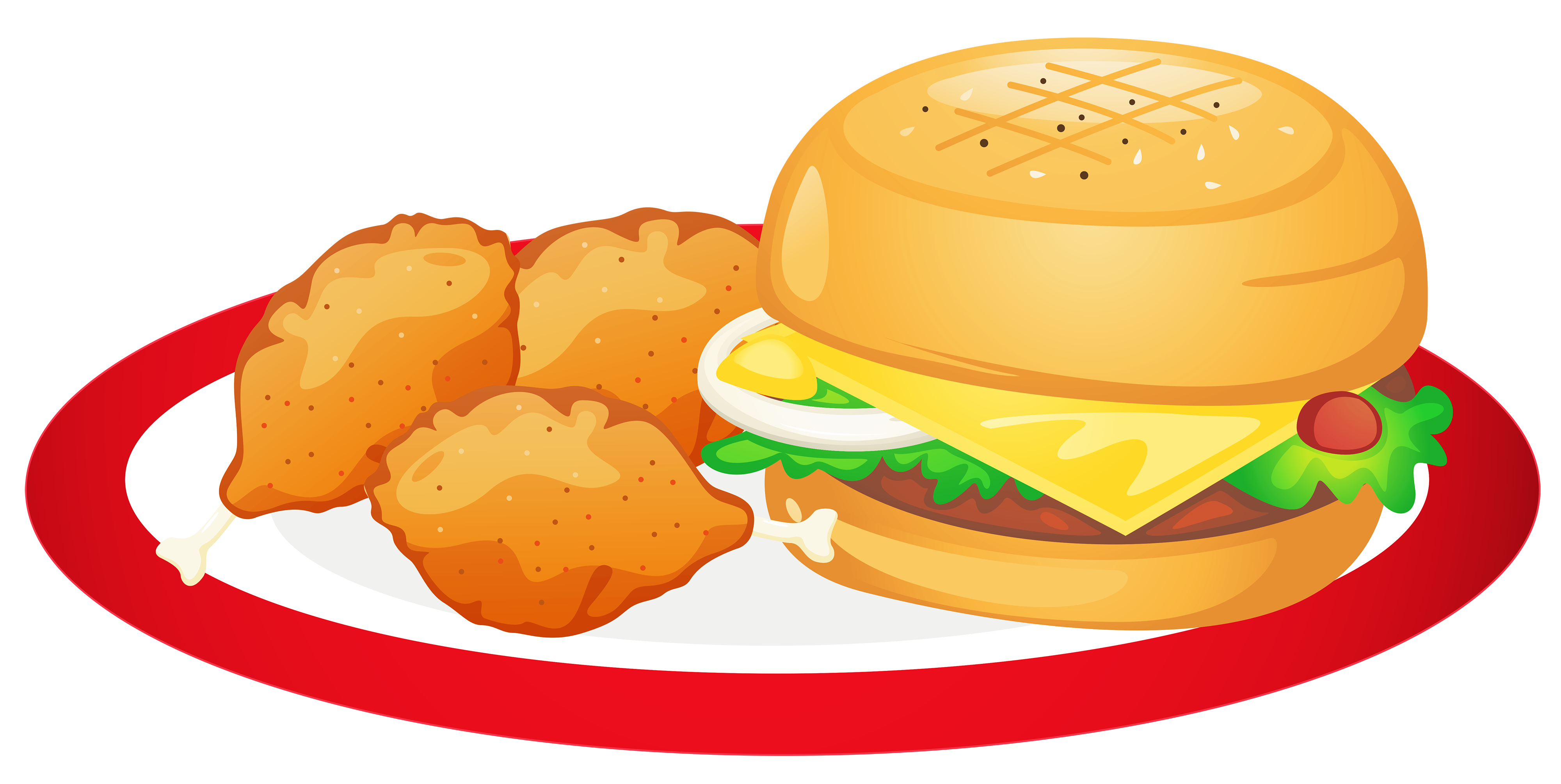 4000x2009 Hamburger And Chicken Legs Plate Png Clipartu200b Gallery