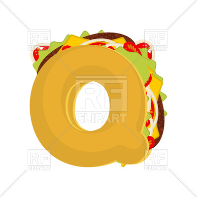 400x400 Letter Q Fast Food Font Royalty Free Vector Clip Art Image