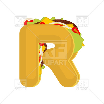400x400 Letter R Fast Food Font Royalty Free Vector Clip Art Image