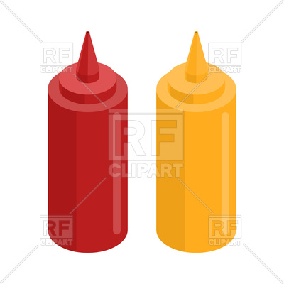 400x400 Mustard And Ketchup Bottle For Fast Food Royalty Free Vector Clip