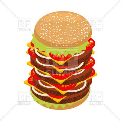 400x400 Very Large Hamburger Royalty Free Vector Clip Art Image
