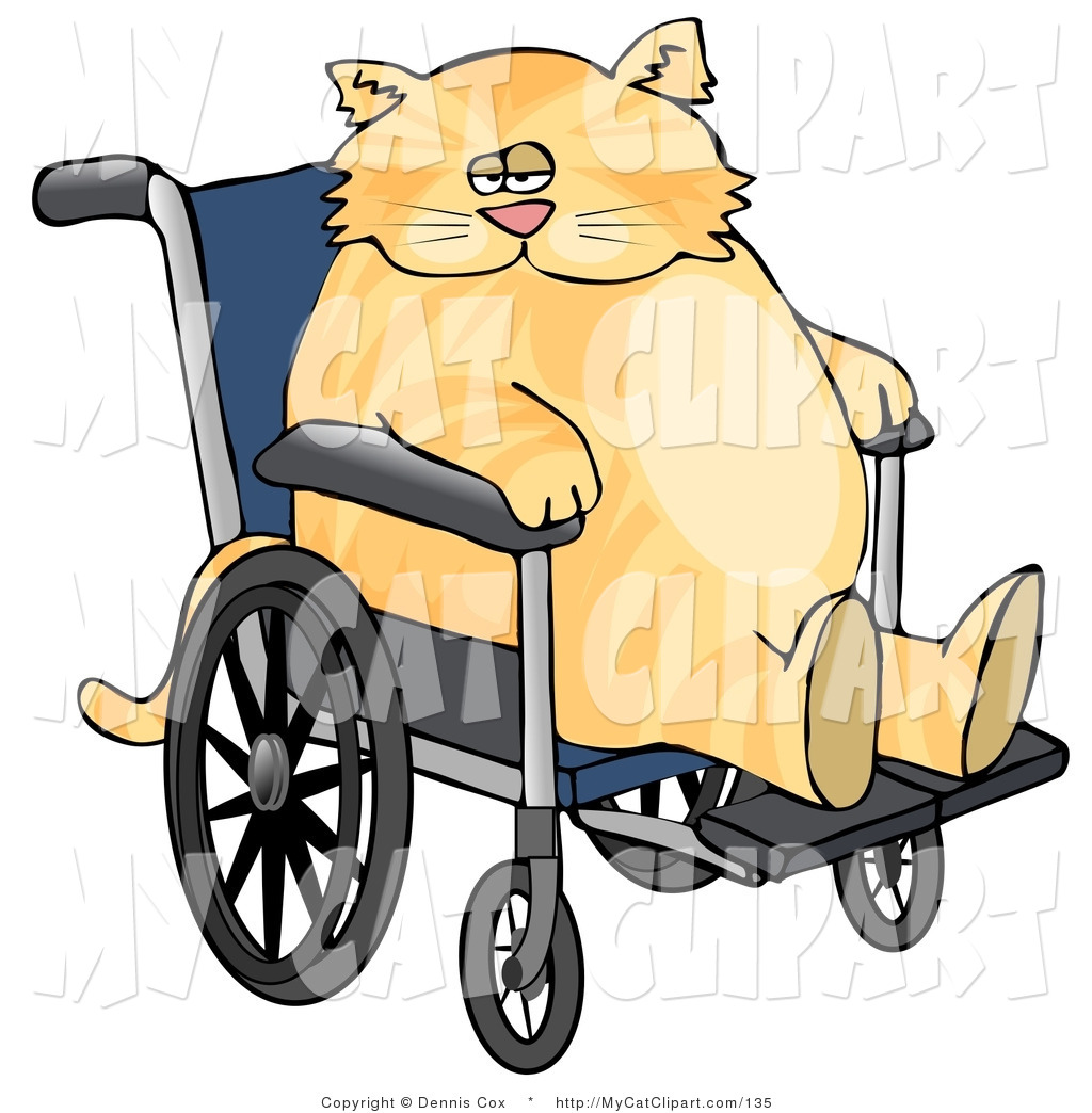 1024x1044 Clip Art Of A Fat Orange Cat Sitting In A Wheelchair In A Hospital