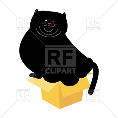 400x400 Fat Black Cat In Small Box Royalty Free Vector Clip Art Image