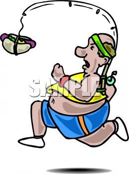 260x350 Fat Man Running After A Hotdog