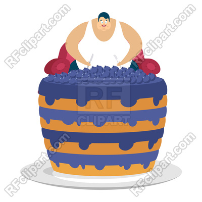 400x400 Fat Guy And Blueberry Cake Royalty Free Vector Clip Art Image