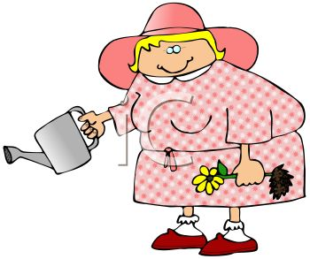 350x293 Royalty Free Clip Art Image Fat Lady Watering Her Plants