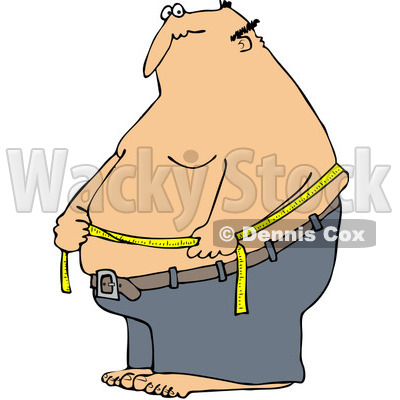400x400 Clipart Caucasian Man Measuring His Belly Fat