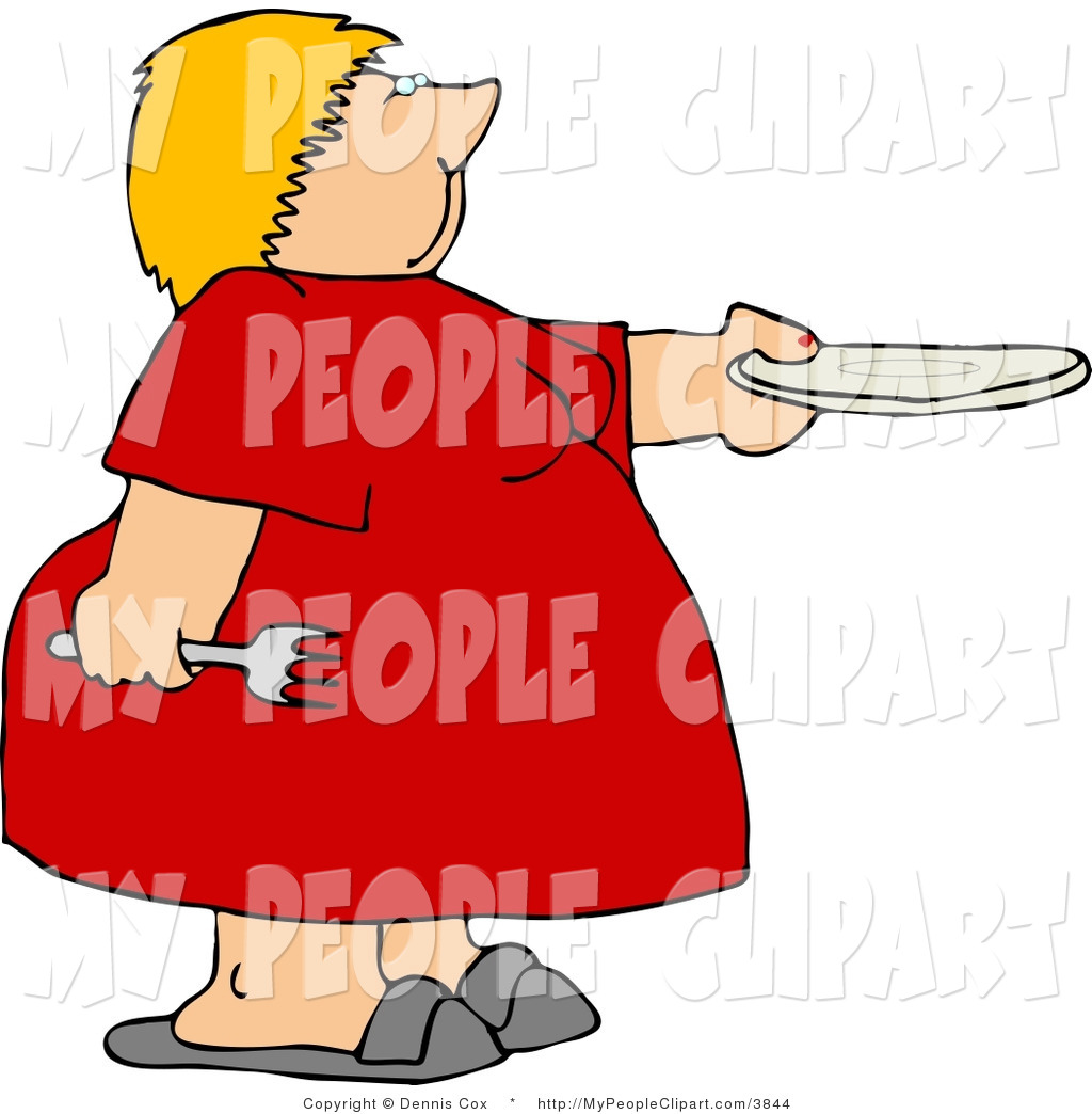 1024x1044 Clip Art Of An Obese Woman Holding A Fork And Plate And Asking
