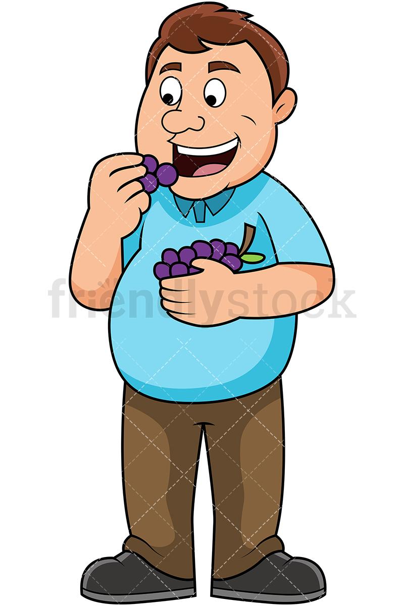 800x1200 Fat Man Eating Grapes Cartoon Vector Clipart