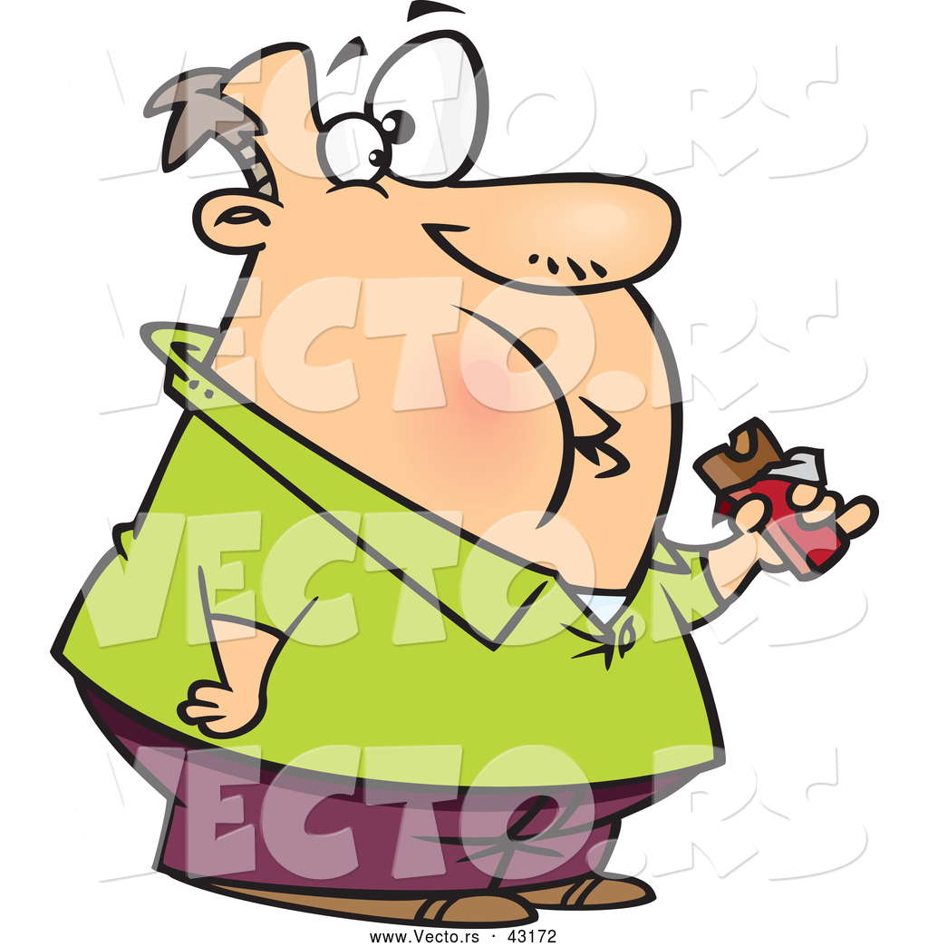 1024x1044 Vector Of A Fat Cartoon Man Eating A Chocolate Candy Bar By
