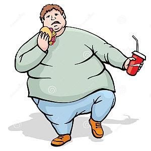 300x300 Fat Man Walk And Eat Royalty Free Stock Photos Image 32804478