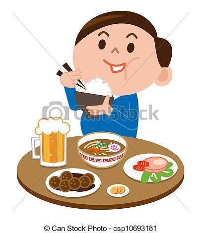 405x470 A Fat Man Eating Food Stock Illustration