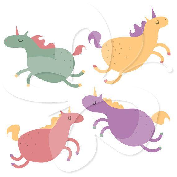 570x570 Fat Unicorns Digital Clip Art Clipart Set By Collectivecreation