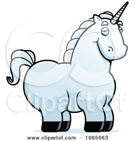 450x470 Cartoon Clipart Of A Black And White Chubby Unicorn