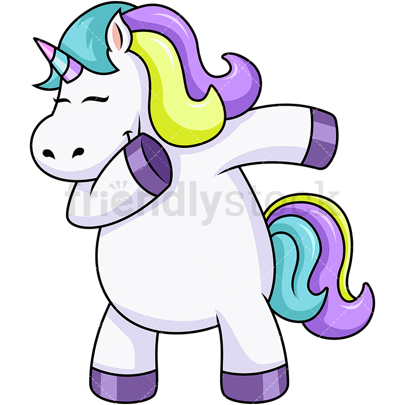 800x800 Chubby Unicorn Dabbing Cartoon Vector Clipart