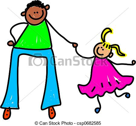 450x415 Father And Daughter. Ethnic Father Holding Hands With Stock