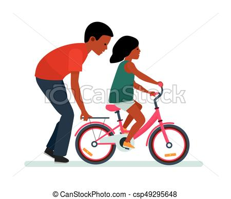450x389 Father And Daughter. Father Helping Daughter To Ride A Bike