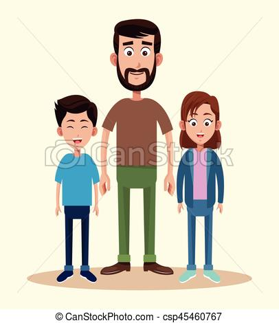 406x470 Father With Daughter And Son Together Vector Illustration Eps 10.