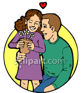 266x300 A Father Giving His Daughter Flowers Royalty Free Clipart Picture