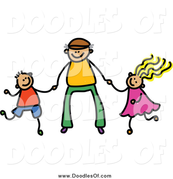 600x620 Vector Clipart Of A Doodle Father Holding Hands With His Son
