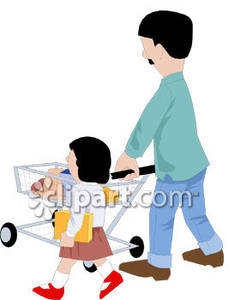 229x300 A Father And Daughter Grocery Shopping Royalty Free Clipart Picture