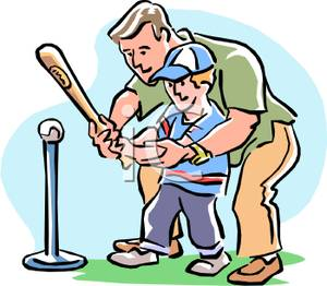 300x262 Father Teaching Son To Play Baseball Clipart Picture