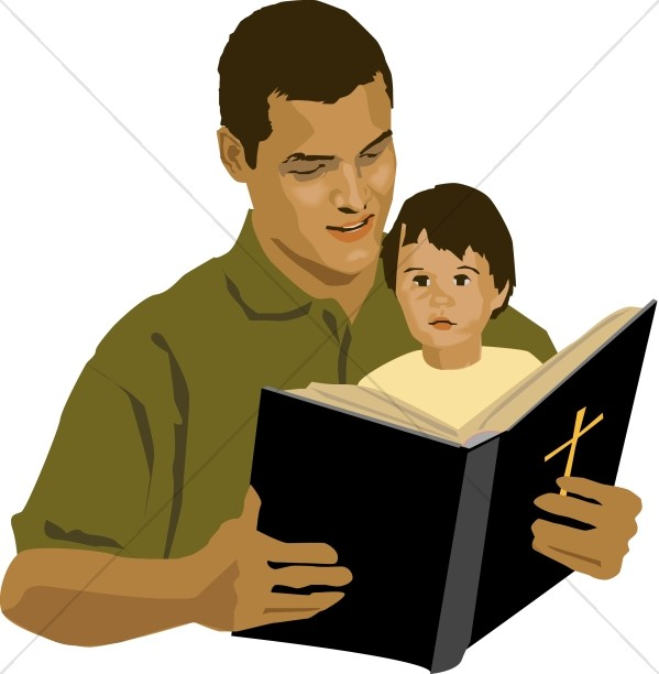 599x612 Father And Son With Bible Homeschool Clipart