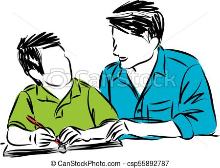 450x344 Father And Son Doing Homework Vector Illustration Vector