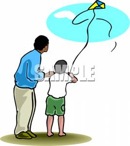268x300 A Father And His Son Flying A Kite Clipart Image