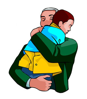 301x340 Father And Son Hugging Clipart
