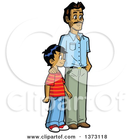 450x470 Happy Casual Indian Father And Son Standing Posters, Art Prints By