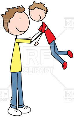 255x400 Cartoon Illustration Of Father And Son Playing Royalty Free Vector