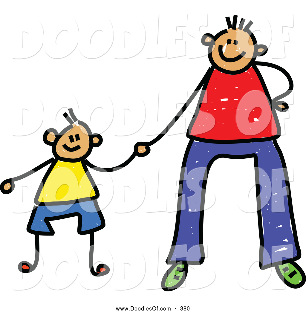 1024x1044 Vector Clipart Of A Father Holding Hands With His Son On Father By