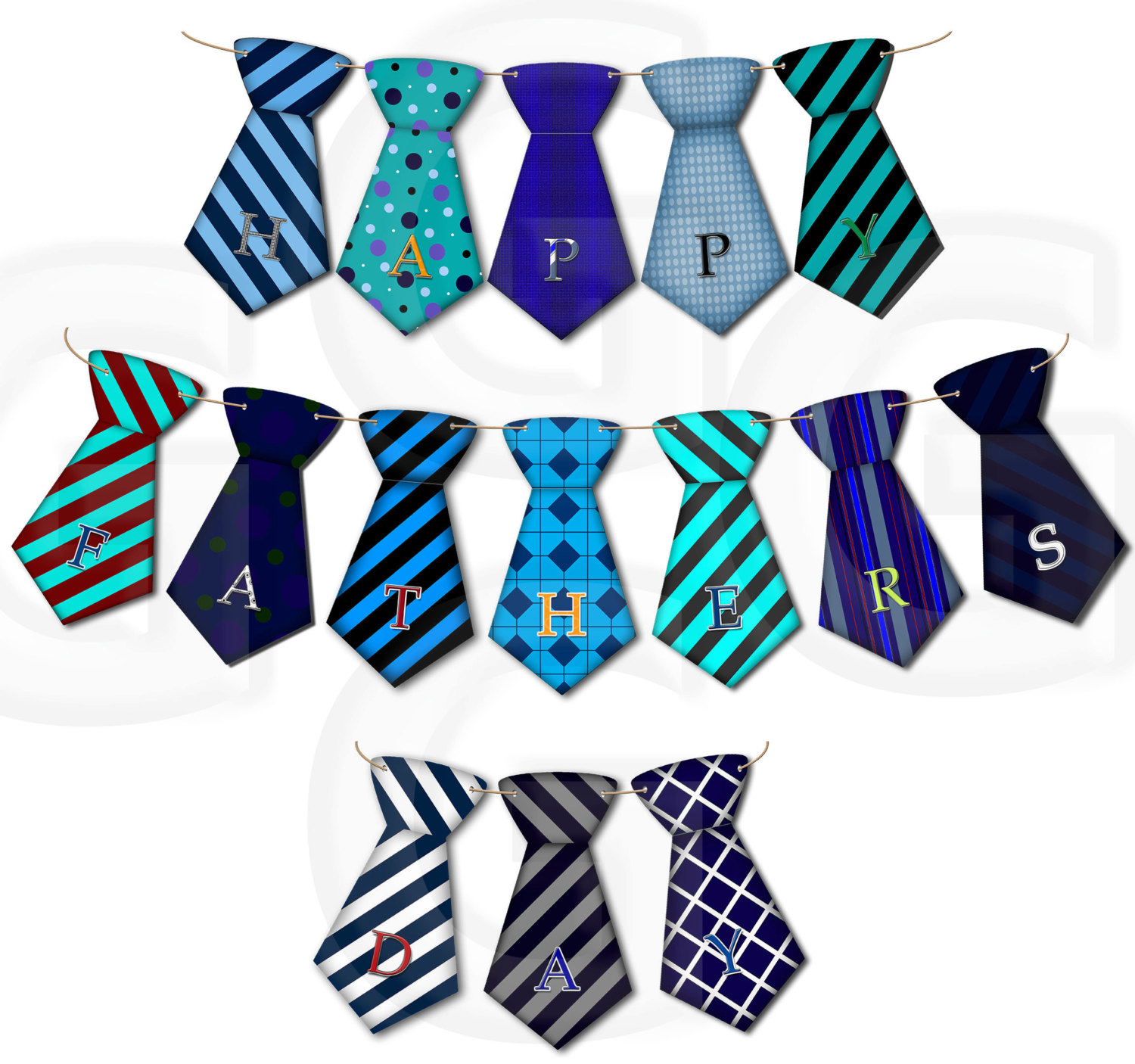 1500x1406 Happy Father's Day Blue Tie Bunting Clip Art