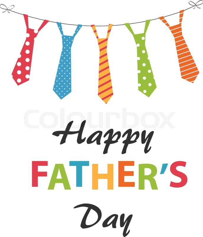 687x800 Happy Fathers Day Card Design With Hanging Ties Stock Vector