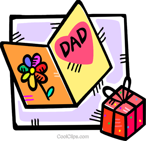 480x464 Fathers Day Card And A Gift Royalty Free Vector Clip Art