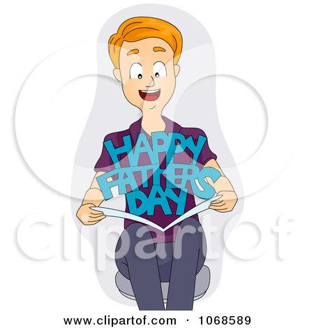 450x470 Clipart Man Holding A Fathers Day Card