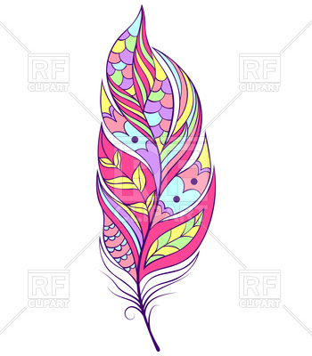 350x400 Illustration Of Abstract Feather On White Background Royalty Free