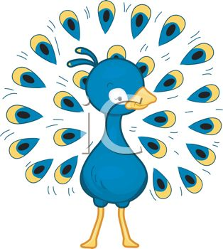 314x350 Cartoon Clip Art Of A Peacock With His Beautiful Feathers Spread