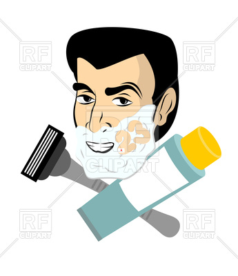 345x400 Man With Shaving Foam On Face. February 23. Royalty Free Vector