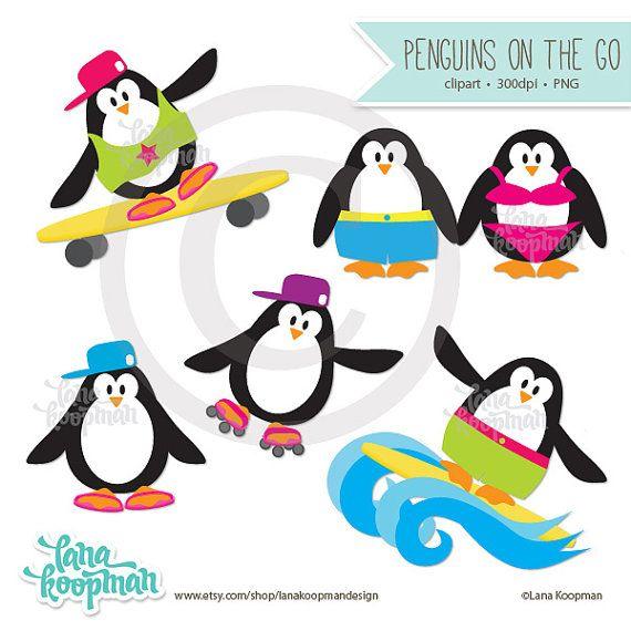 570x570 Penguin Clipart Penguins Clip Art Summer By Lanakoopmandesign
