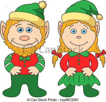 450x433 Cartoon, Garden Gnomes, Boy And Girl. Vector Illustration Vector