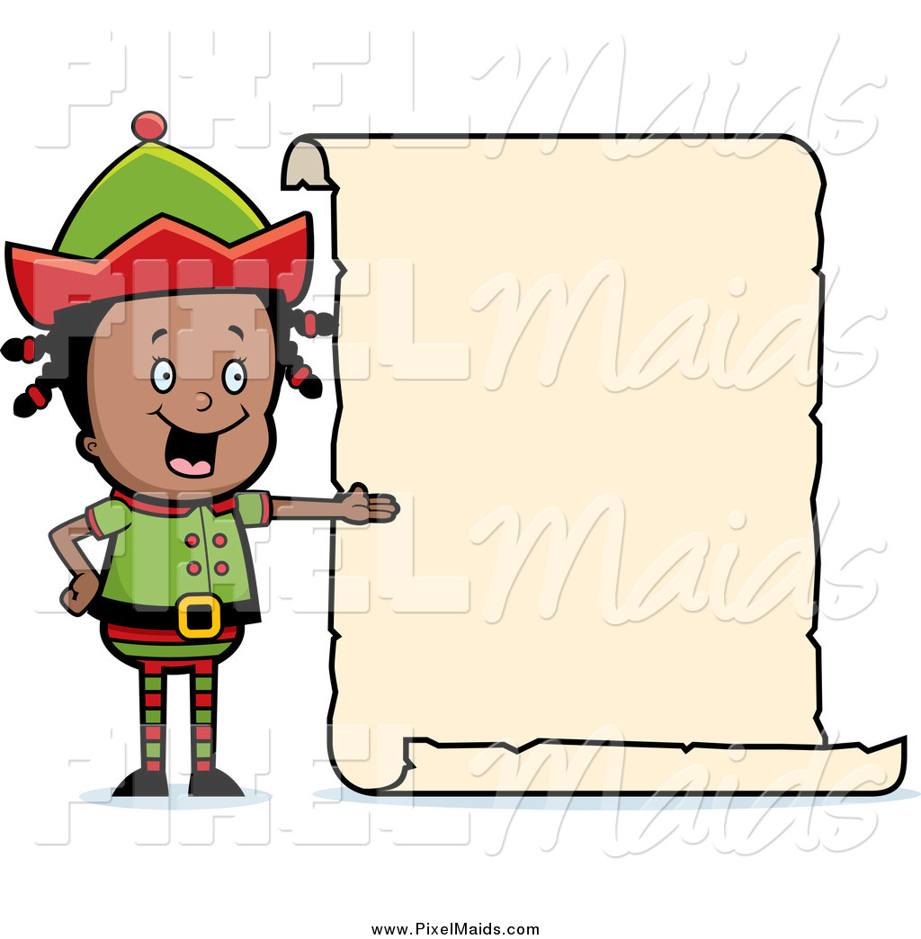 1024x1044 Clipart Of A Black Girl Elf Presenting A Blank List Sign By Cory