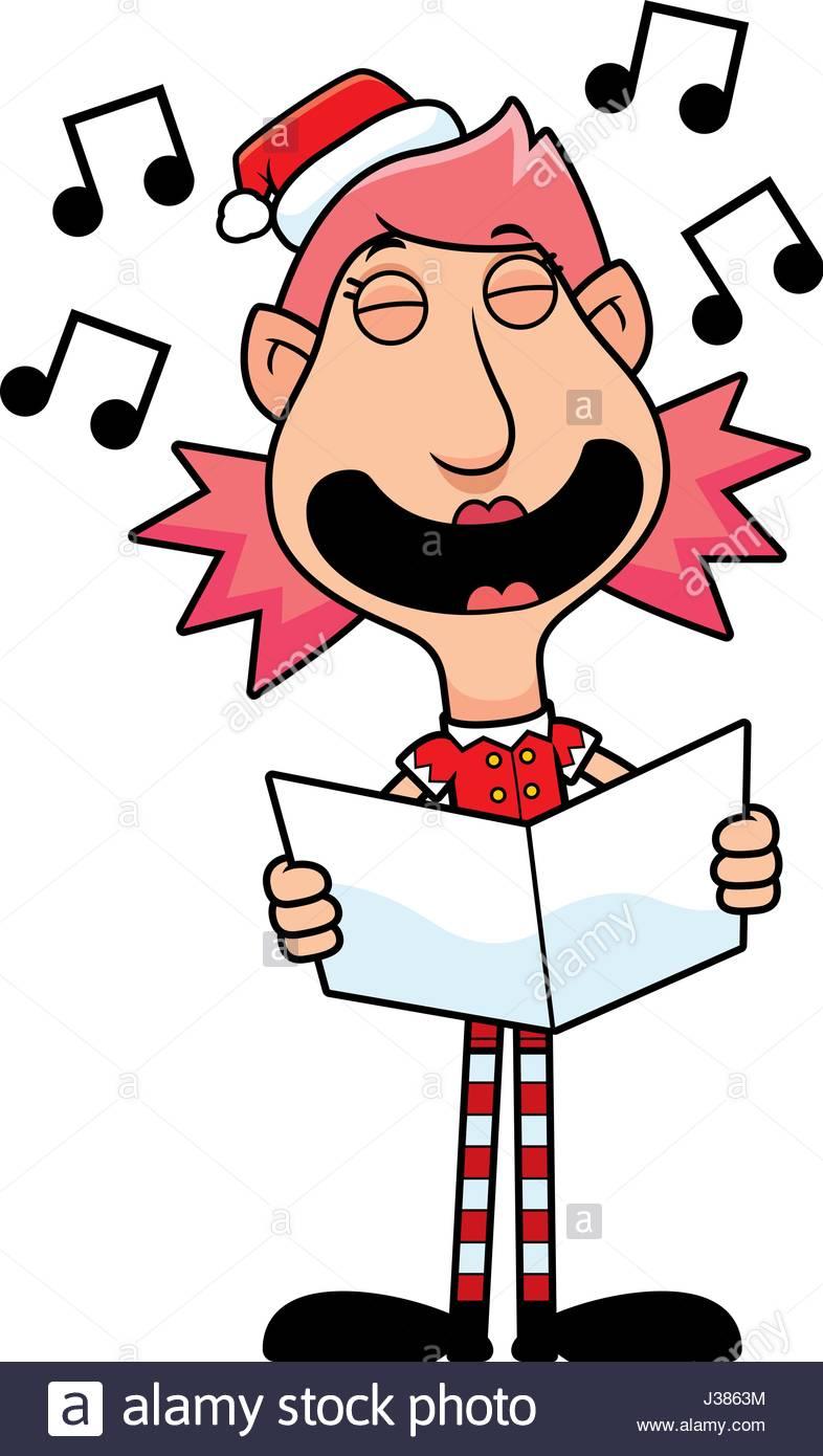 786x1390 An Illustration Of A Cartoon Christmas Elf Woman Singing Carols