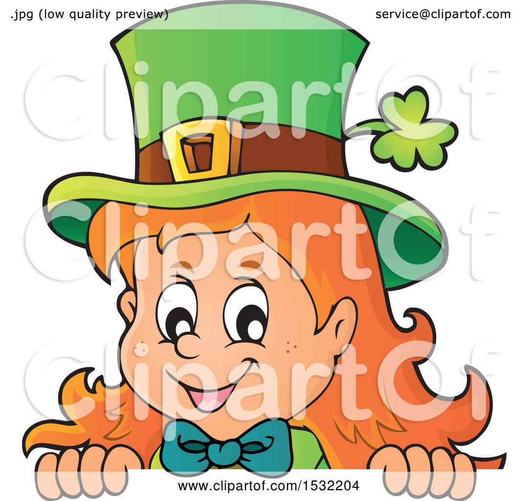 1080x1024 Clipart Of A St Patricks Day Female Leprechaun Looking Over A Sign