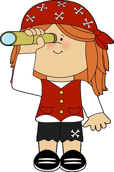 367x550 Pirate Girl With Telescope. Pirate Clip Art