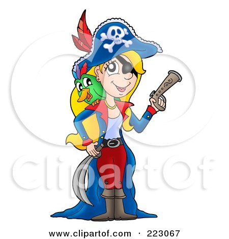 450x470 Royalty Free (Rf) Clipart Illustration Of A Blond Female Pirate